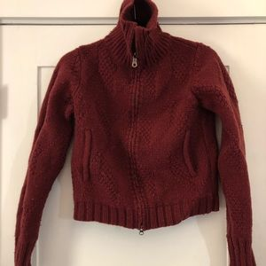 Vintage red wool Patagonia sweater zipper